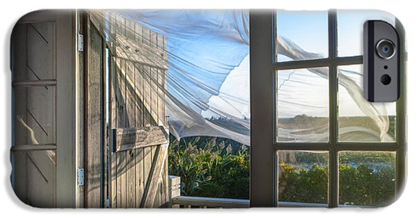 Balcony Photographs iPhone Cases - Morning Breeze at the Beach House iPhone Case by Diane Diederich