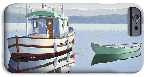 Trawler iPhone Cases - Morning calm-fishing boat with skiff iPhone Case by Gary Giacomelli