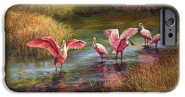 Spoonbill iPhone Cases - Morning Dance iPhone Case by Laurie Hein