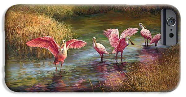 Wetlands iPhone Cases - Morning Dance iPhone Case by Laurie Hein
