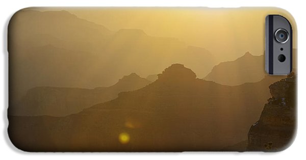 Arizona iPhone Cases - Morning Dawn over Silhouetted Spires in Grand Canyon National Park iPhone Case by Shawn O