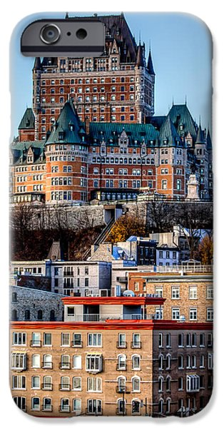 City Scape iPhone Cases - Morning dawns over the Chateau Frontenac iPhone Case by Bill Lindsay
