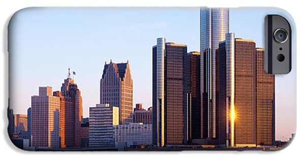Renaissance Center iPhone Cases - Morning, Detroit, Michigan, Usa iPhone Case by Panoramic Images