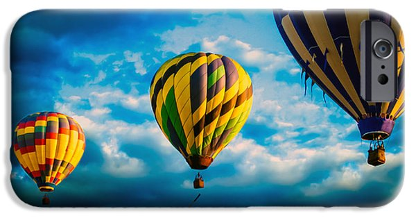 Hot Air Balloon iPhone Cases - Morning Flight Hot Air Balloons iPhone Case by Bob Orsillo