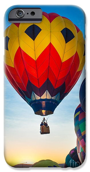 Hot Air Balloon iPhone Cases - Morning flight iPhone Case by Inge Johnsson