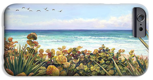 Beach Landscape Paintings iPhone Cases - Morning Flyby iPhone Case by Laurie Hein