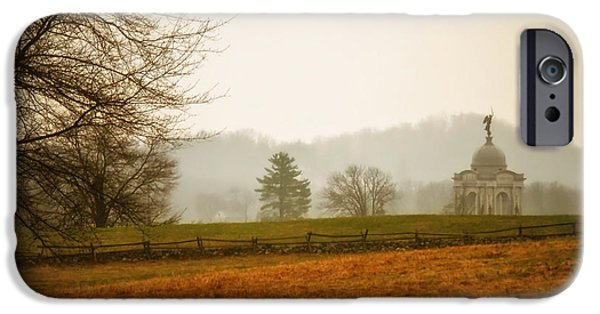 Historic Site iPhone Cases - Morning Fog at Gettysburg iPhone Case by Mountain Dreams
