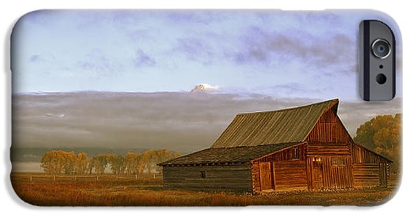 Old Barn iPhone Cases - Morning fog at the Moulton Barn iPhone Case by Gary Langley