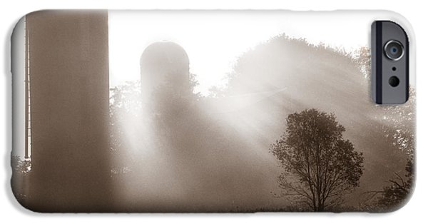 Old Barn iPhone Cases - Morning fog burning off the farm iPhone Case by Chris Bordeleau