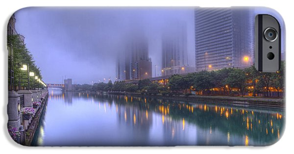 Morning iPhone Cases - Morning Fog on the Chicago River iPhone Case by Lindley Johnson