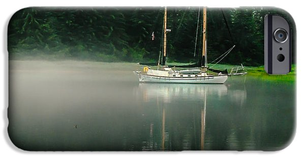 Haybale iPhone Cases - Morning Fog iPhone Case by Robert Bales