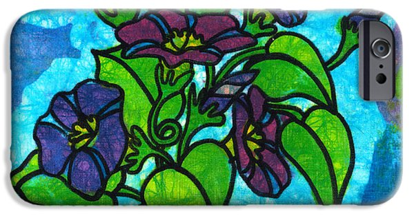 Morning Tapestries - Textiles iPhone Cases - Morning Glories iPhone Case by Toni McCullough