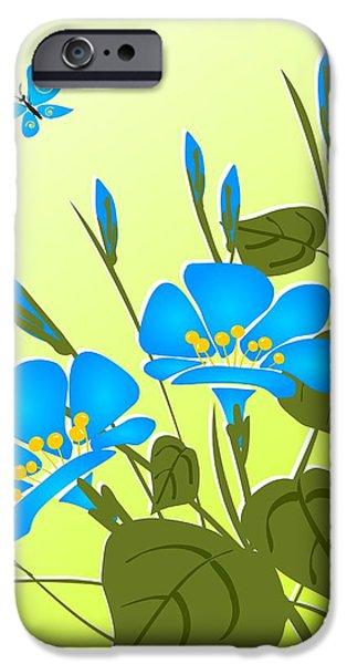 Plants Digital Art iPhone Cases - Morning Glory iPhone Case by Anastasiya Malakhova