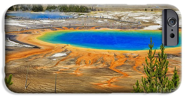 Geographic iPhone Cases - Morning Glory Geyser Yellowstone National Park iPhone Case by Edward Fielding