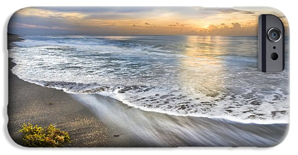 Beach Landscape iPhone Cases - Morning Glow iPhone Case by Debra and Dave Vanderlaan