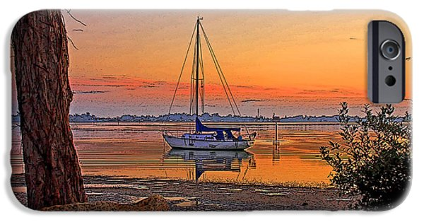 Sailboat Ocean iPhone Cases - Morning Glow iPhone Case by HH Photography of Florida