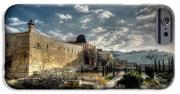 Israel iPhone Cases - Morning in Jerusalem HDR iPhone Case by David Morefield