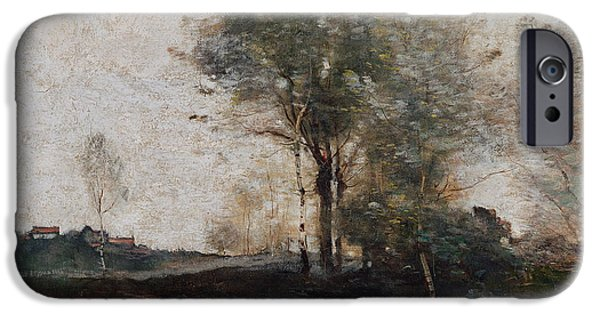 Farm Stand iPhone Cases - Morning in the Field iPhone Case by Jean Baptiste Camille Corot