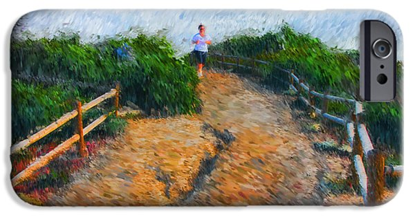 Jogging iPhone Cases - Morning Jog iPhone Case by Tom Griffithe