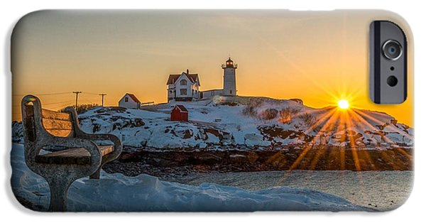 Nubble Lighthouse iPhone Cases - Morning light at Nubble Lighthouse iPhone Case by Bryan Xavier