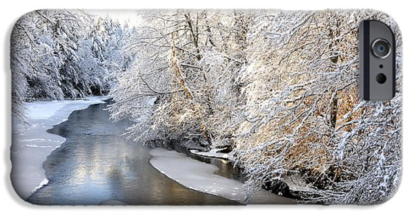 Fletcher iPhone Cases - Morning Light Fresh Snowfall Gauley River iPhone Case by Thomas R Fletcher
