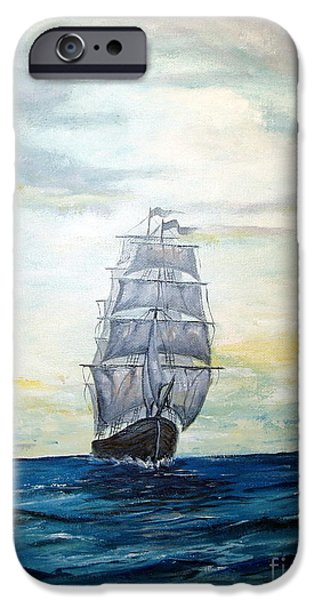 Pirate Ship iPhone Cases - Morning Light On The Atlantic iPhone Case by Lee Piper