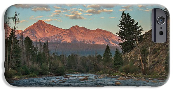 Haybale iPhone Cases - Morning Light On The Sawtooth Mountains iPhone Case by Robert Bales
