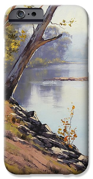 River iPhone Cases - Morning Light Tumut River iPhone Case by Graham Gercken