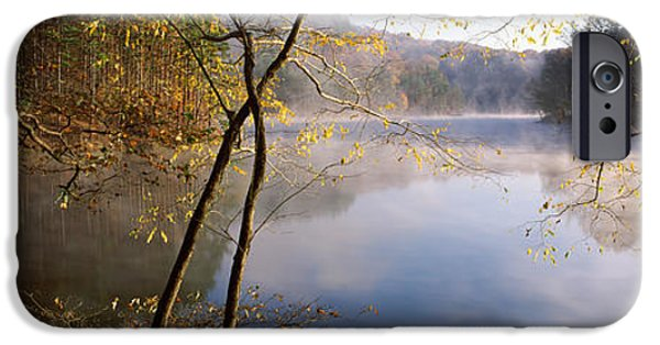 Mist iPhone Cases - Morning Mist Around A Lake, Lake iPhone Case by Panoramic Images