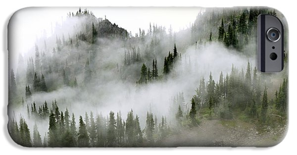 Fog Mist Photographs iPhone Cases - Morning mist in Olympic National Park iPhone Case by King Wu