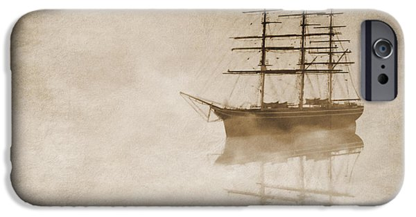 Navy iPhone Cases - Morning mist in sepia iPhone Case by John Edwards