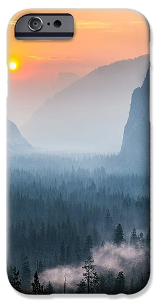 Cathedral Rock iPhone Cases - Morning Mist in the Valley iPhone Case by Mike Lee