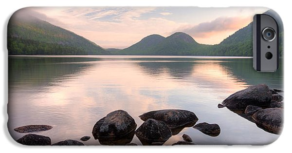 Mist iPhone Cases - Morning Mist On Jordan Pond, Acadia iPhone Case by Panoramic Images