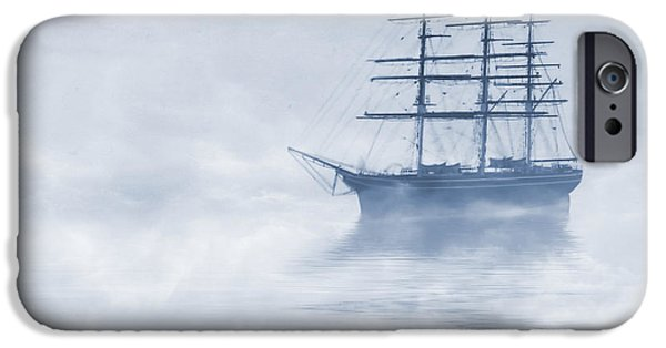 Sailboat Ocean iPhone Cases - Morning Mists Cyanotype iPhone Case by John Edwards