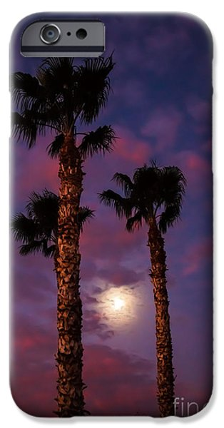Haybale iPhone Cases - Morning Moon iPhone Case by Robert Bales