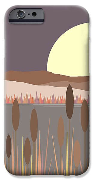 Business Digital iPhone Cases - Morning Moon iPhone Case by Val Arie