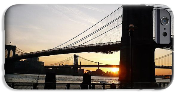 Brooklyn Bridge Mixed Media iPhone Cases - Morning on the Manhattan Side iPhone Case by Marcus Malara