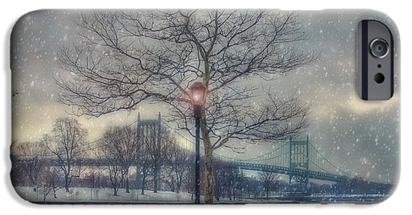 Snow Scene iPhone Cases - Morning on the Triborough iPhone Case by Joann Vitali