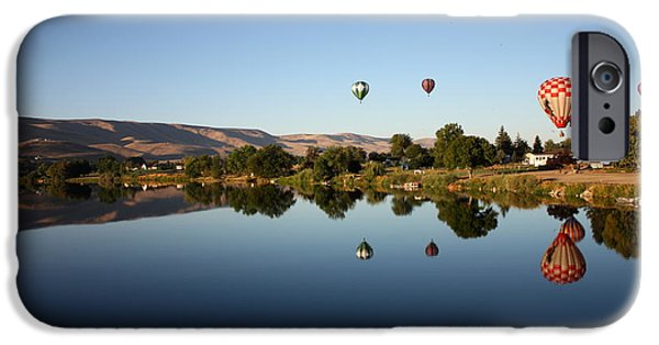 Hot Air Balloon iPhone Cases - Morning on the Yakima River iPhone Case by Carol Groenen