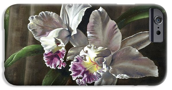 Cattleya iPhone Cases - Morning Orchids iPhone Case by Joan Garcia