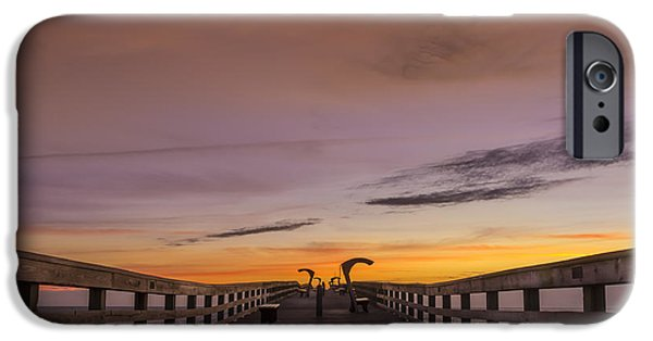 Sweeps iPhone Cases - Morning Pier Deck iPhone Case by Marvin Spates