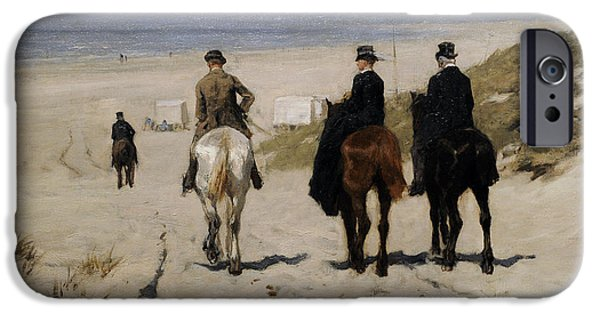19th Century Photographs iPhone Cases - Morning Ride Along The Beach, 1876, By Anton Mauve 1838-1888 iPhone Case by Bridgeman Images