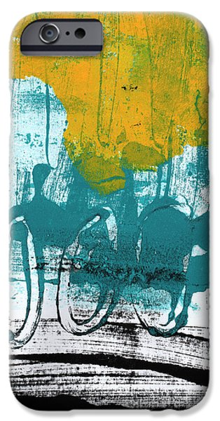 Yellow Abstracts iPhone Cases - Morning Ride iPhone Case by Linda Woods
