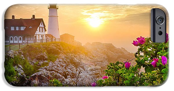 Recently Sold -  - New England Lighthouse iPhone Cases - Morning Rose iPhone Case by Benjamin Williamson