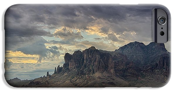 Morning iPhone Cases - Morning Serenity in the Superstitions  iPhone Case by Saija  Lehtonen