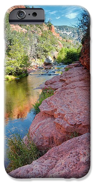 Sedona iPhone Cases - Morning Sun on Oak Creek - Slide Rock State Park Sedona Arizona iPhone Case by Silvio Ligutti