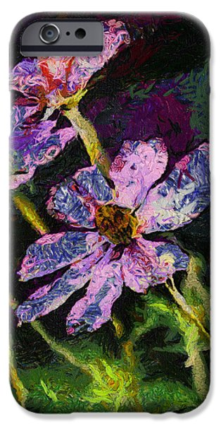 Asymmetrical iPhone Cases - Morning Sunshine On Purple Flowers 04 iPhone Case by Thomas Woolworth