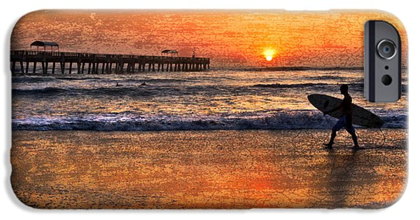 Sunset At The Lake iPhone Cases - Morning Surf iPhone Case by Debra and Dave Vanderlaan