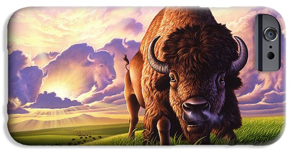 Bison iPhone Cases - Morning Thunder iPhone Case by Jerry LoFaro