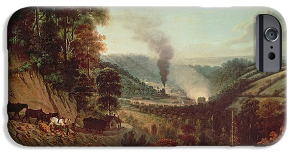 Industrial iPhone Cases - Morning View Of Coalbrookdale, 1777 Oil On Canvas iPhone Case by William Williams
